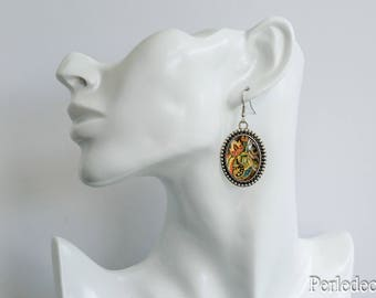 Earrings cabochons glass 25 ' East' x 18 image cashmere