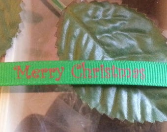 3 meters of Ribbon for Christmas with written Marry Christmas, green, 10 mm wide, 1 m