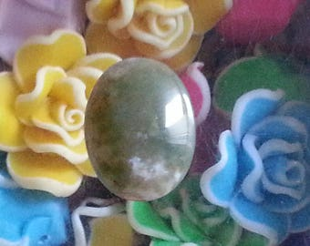 1 cabochon natural aventurine green, oval, 20 x 15 mm