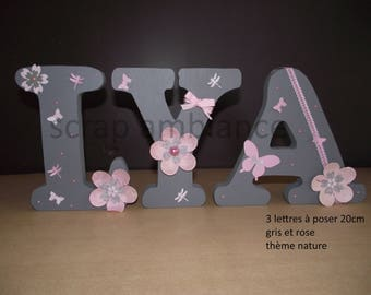 name to be put, wooden letter to put custom NATURE 20 cm