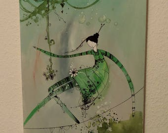 Canvas - the tightrope walker - green - ink and acrylic painting.