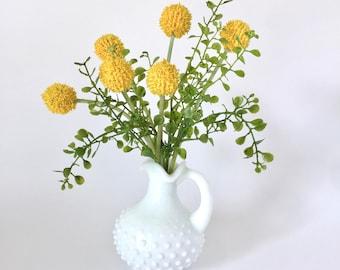 Silk Flower Arrangement, Small Silk Floral Design, Vintage Avon Hobnail Cruet, Yellow Craspedia, Yellow Billy Balls, Faux Flower arrangement