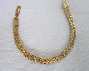 Nice Herringbone Link Gold Nugget Look Fancy Ladies Bracelet