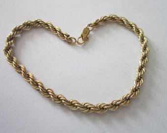 Nice  Gold Tone Thick Double Rope Twist Chain Bracelet