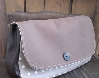 Pocket flap coated linen, canvas and faux leather