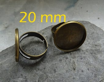 Bronze 1 to support glass cabochon Adjustable ring 20 mm