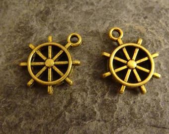 2 less boat gold Starfish charm 1 cm marine Navy summer