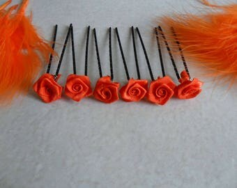 6 metal orange flower Rose