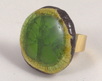 Stoneware and fused glass ring
