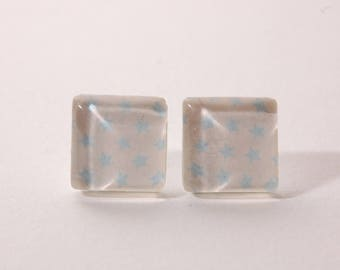 Star earrings sky blue, white, square shape