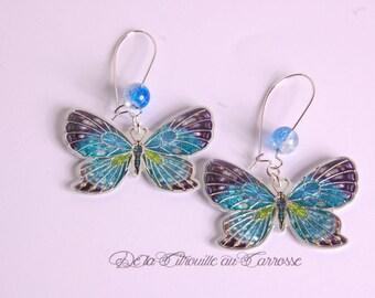Blue, turquoise, Apple green butterfly earrings