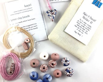 Make it yourself necklace gift kit-handcrafted polymer clay beads- rose gold, white and cornflower blue