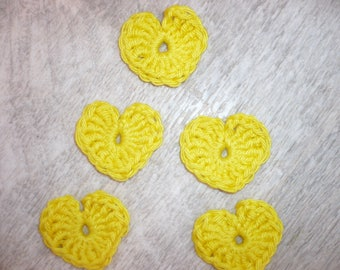 crochet hearts, set of 5 yellow cotton