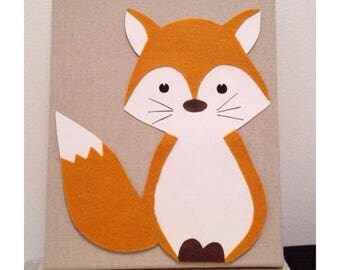 Canvas baby, little Fox red felt, deco room baby, baby