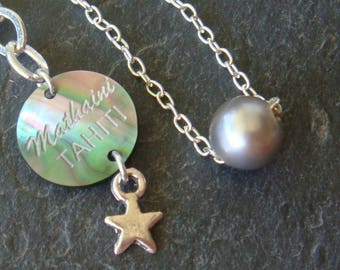 Fine timeless 925 Silver chain and its black Tahitian Pearl.