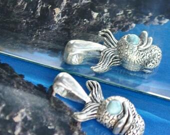 Light turquoise and Tibetan silver fish charms