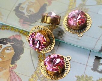 Small gold filigree set Rivoli pendant Pink AB-connector bracelet necklace...