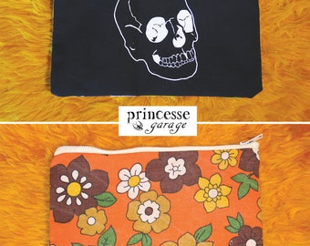 Handmade screen printed pouch, hand-sewn
