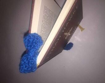 Blue Bow Crochet Bookmark