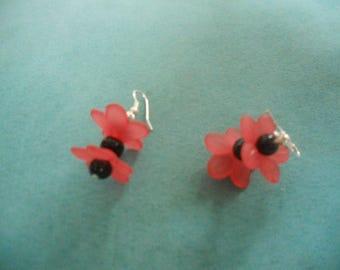 pair of earrings in black and pink flowers