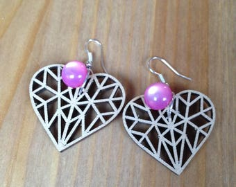 pair of geometric heart and Pink Pearl Earrings