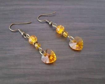 Orange Swarovski heart Earrings