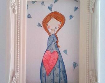 "Small canvas ""Lili hearts"", fancy"