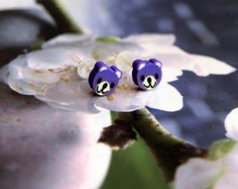 Purple jewel bear Stud Earrings