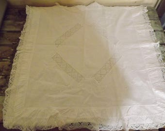 Large Antique French Pillow Case Cotton, vintage.