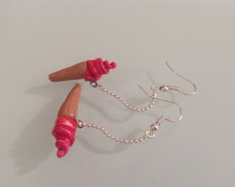 Earrings ice cream polymer clay.