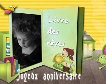 """Kids birthday card """"The book of dreams"""""""
