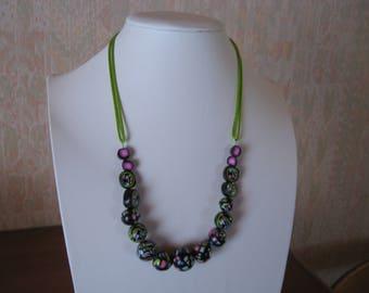Multicolor on black polymer clay necklace