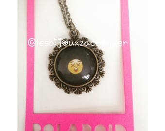 6 emoji bronze cameo necklace