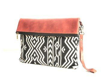 ethnic fabric and leather bag/pouch