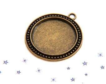 picture frame Locket pendant bronze tinted cabochon 30mm round