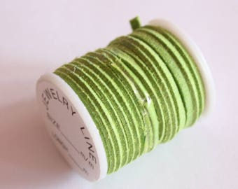spool of pale green suede 3 mm, special jewelry, cord, 3 m