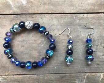 Sapphire Star Bead with Austrian Crystal Set