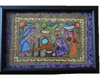 Daily Life Mithila Art On Lokta Paper | Madhubani painting | Ethinic Art