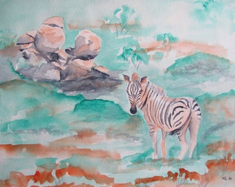 Watercolor of a zebra in Namibia Africa landscape