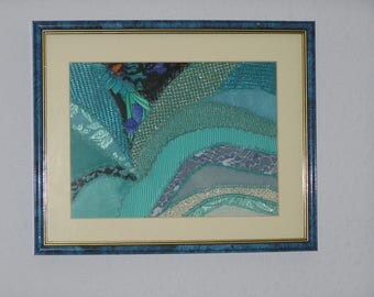 Small turquoise textile art painting