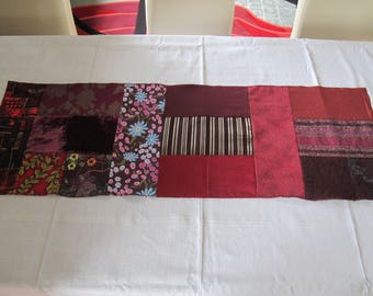 Burgundy patchwork table runner