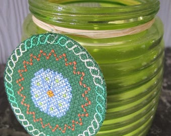 Label embroidered stitch Cross and Lemongrass