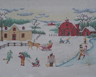 """Embroidery """"enchantment"""" Bruges winter cross stitch"""