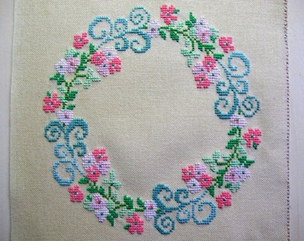 Flower Crown with cross stitch Embroidery