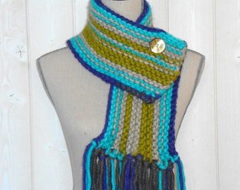 Scarf, cowl, Snood wool knitted hand, purple, turquoise, off-white and olive green