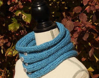 Snood, cowl, blue hand knitted