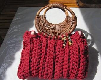 Handbag, violet and carmine red