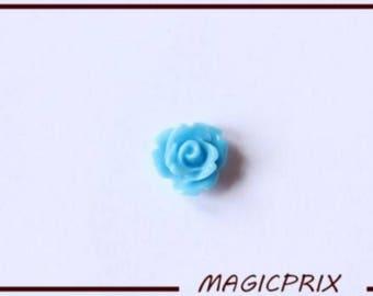 SET of 10 CABOCHONS flower Ø 10 mm blue m233