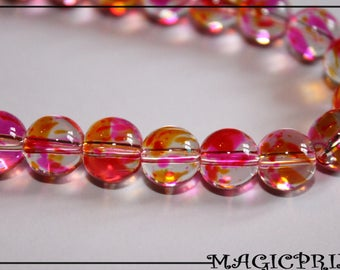 LOT 100 yellow Ø 8 mm m2266 & Transparent pink glass beads