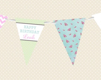 Personalised Birthday Bunting - Floral & Chevron - Made in UK